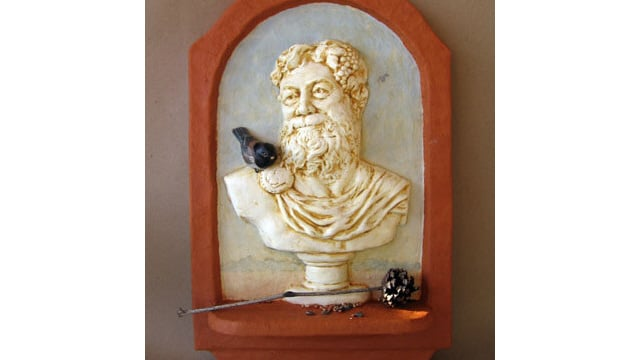 Dionysus - A Faux Marble Bust in a Paper Mache Frame