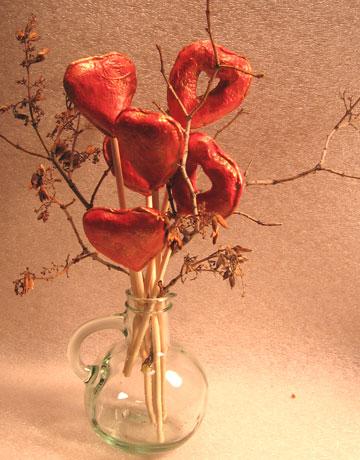 Paper Mache Heart Bouquet