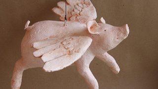 Paper Mache Flying Pig