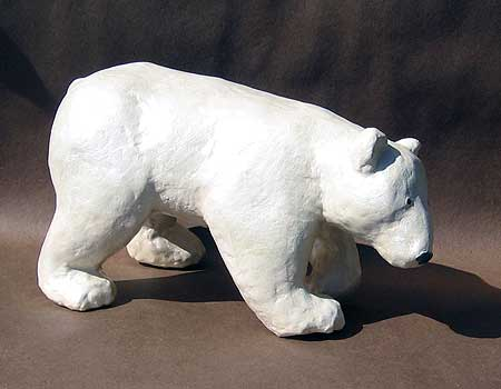 Polar bear sculpture from a busy week in my studio for How to make a sculpture out of paper mache