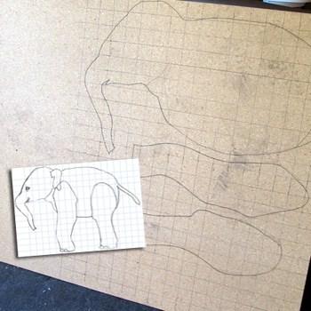 Beginning Baby Paper Mache Elephant