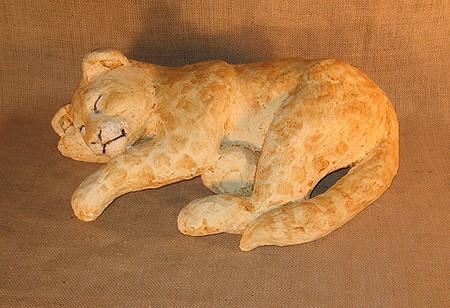 Sleeping Paper Mache Lion Cub