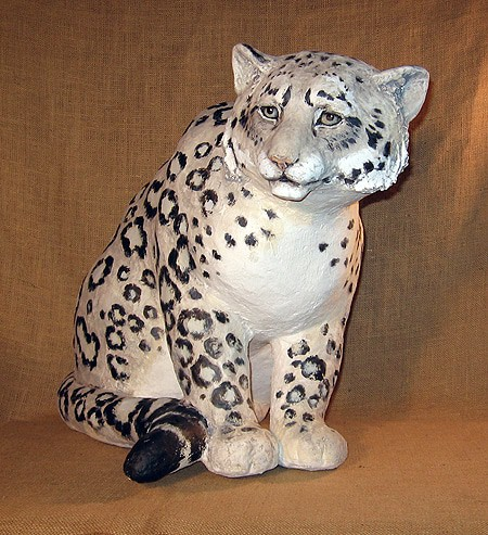 Ghost cat snow leopard sculpture ultimate paper mache for How to make a sculpture out of paper mache
