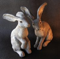 Two Jackrabbits Sculpture