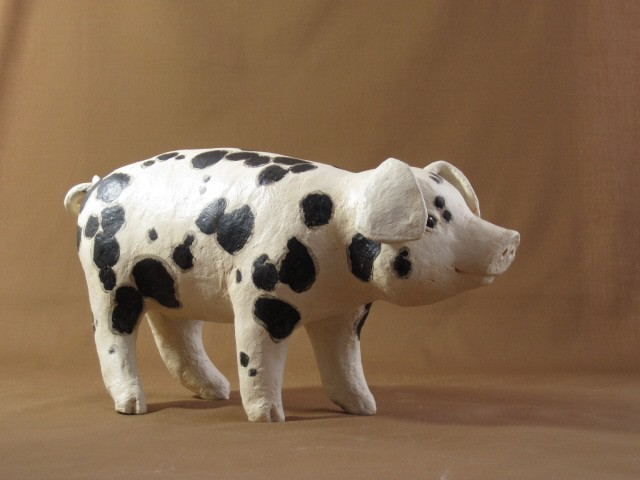 Spotted piglet project 4 in new paper mache book for How to make a sculpture out of paper mache