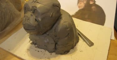 paper mache chimp armature