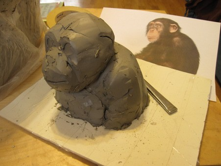paper mache chimp armature