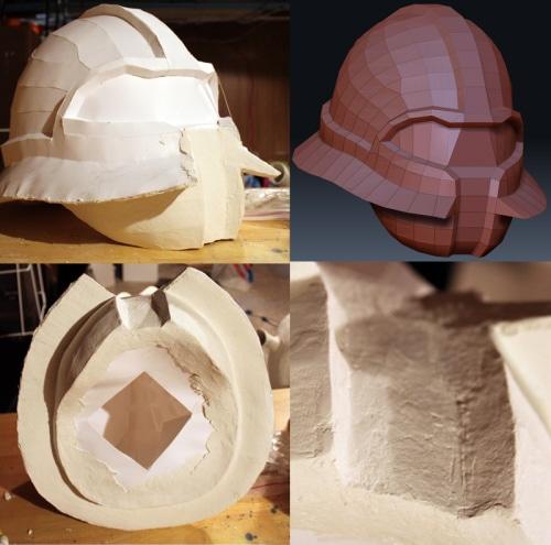 Pepakura helmet mask covered with paper mache