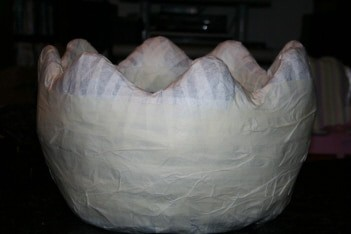 Paper Mache Photo Prop Egg - Adding Paper Padding