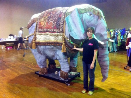 Dianna Standing in Front of Life-Sized Paper Mache Elephant