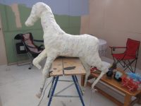 Paper Mache Foal Sculpture - Weatherproofed with Flow Coat