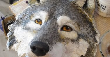 paper mache wolf mask video