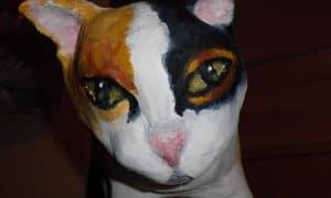 Paper Mache Cat by Joanne Gennarella - Detail