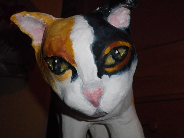 Paper Mache Cat by Joanne Gennarella - Detail