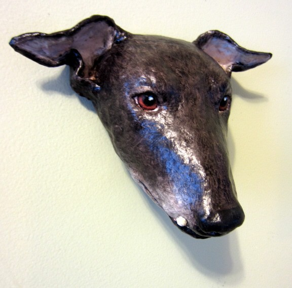 Paper Mache Greyhound Mask