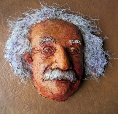 Einstein with wire 'mane.'