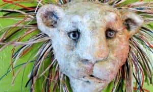 mixed media lion mask