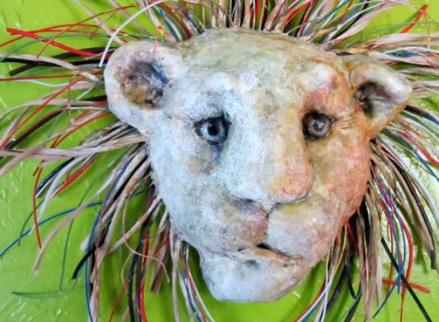 mixed media lion mask