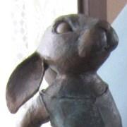 Bronzed Paper Mache Bunny