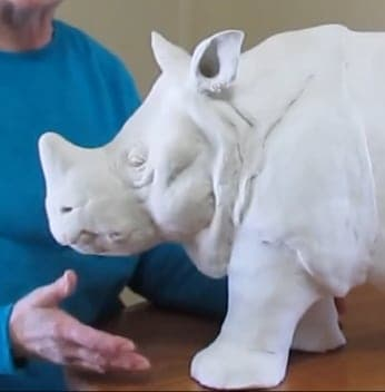 Indian rhino made with air dry clay