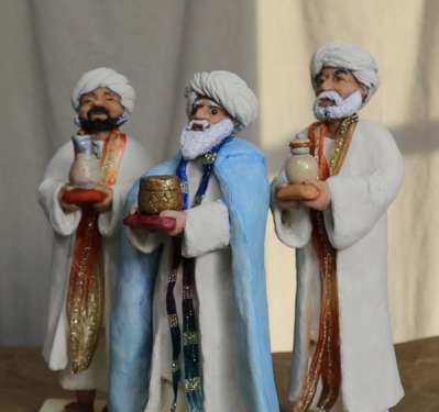 3 Wise Men made with Silky-Smooth Air Dry Clay