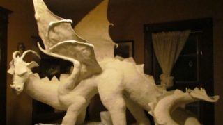 Large Dragon Sculpture paper mahe clay