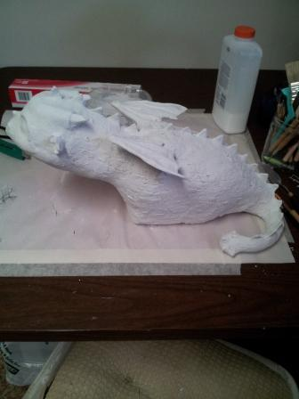 Baby Dragon covered with paper mache and home-made gesso