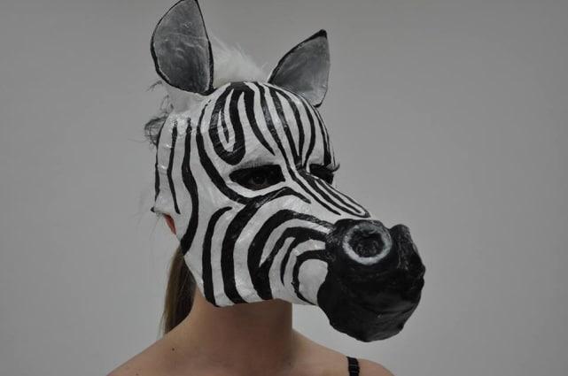 Paper Mache Zebra Mask