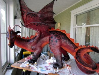 Dragon sold for good cause ultimate paper mache for Things made out of paper mache