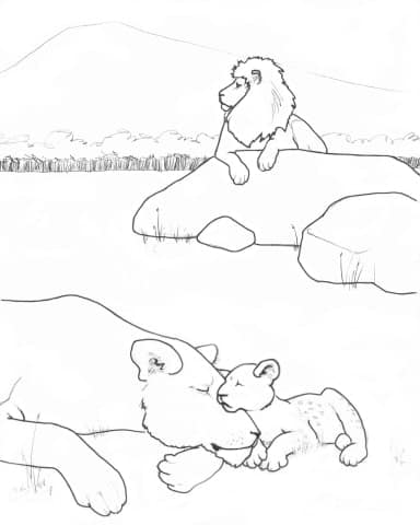Lion Family Coloring Page