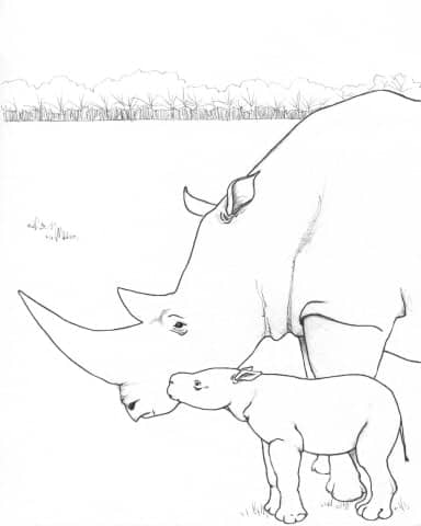 White Rhino Family Coloring Page