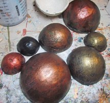 Painting the paper mache bowls