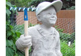 Little Farmer Cement Sculpture