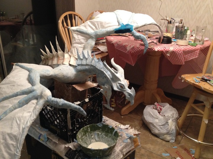 Dragon's spikes with paper mache