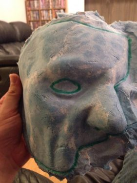 Paper Mache Mask Before Trimming