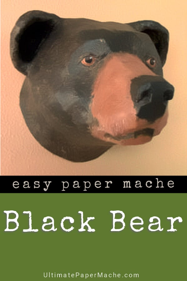 Paper mache black bear trophy mount