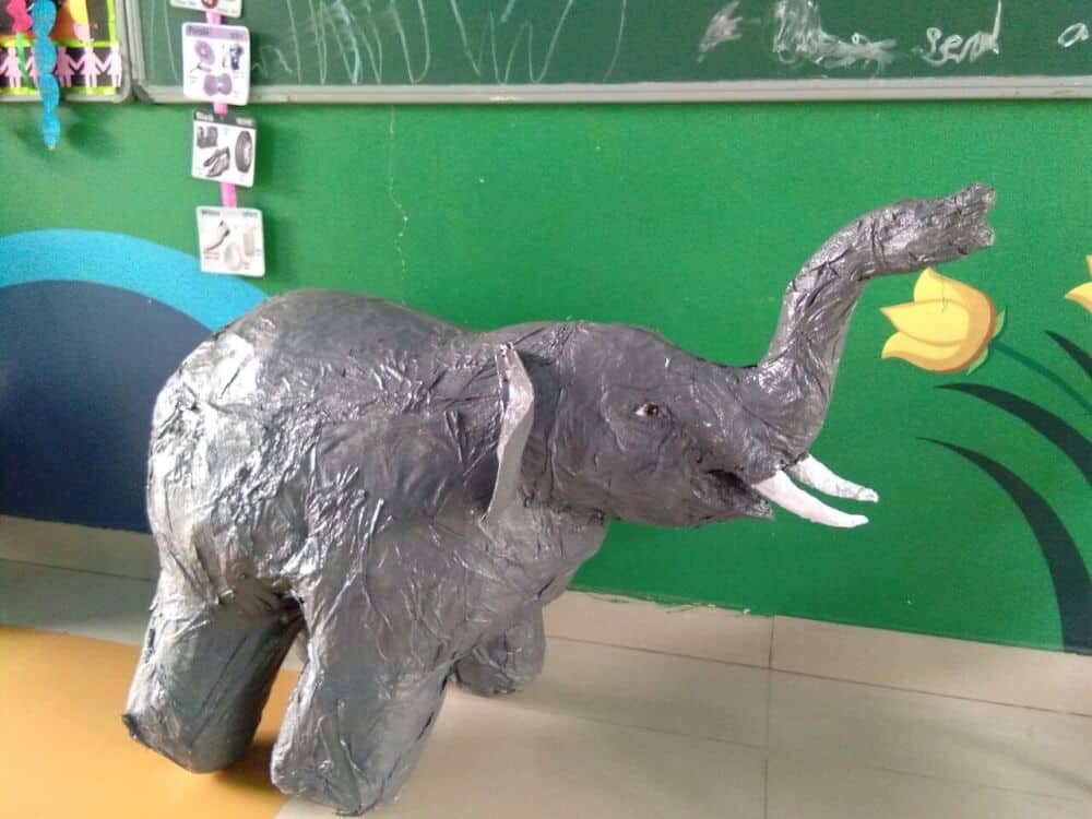 By Kvnd Santoshi, who made this paper mache elephant for her daughter's school project.