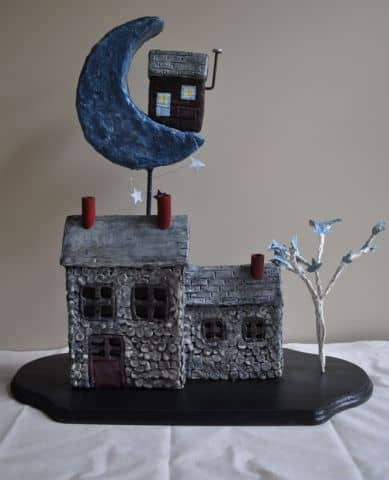 The completed sculpture: Once in a Blue Moon.