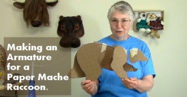 paper mache raccoon featured