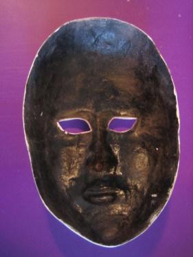 Back of mask, painted black