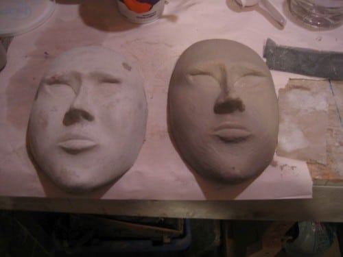 Paper Mache Masks with Gesso Added