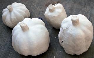 Pumpkins getting their coating paper mache clay.