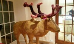 Paper mache reindeer made with paper mache