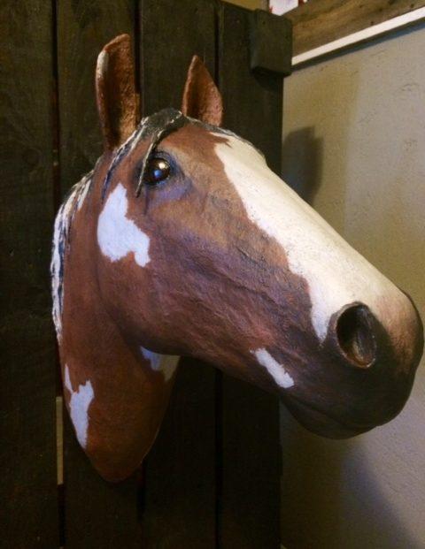 Paper Mache Horse Head, Finished