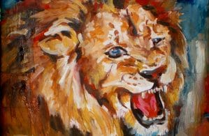 Lion painting on paper mache canvas