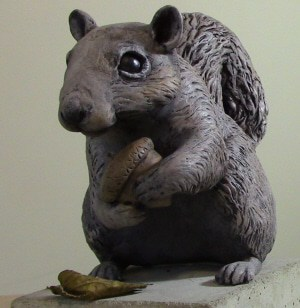 Waterproof squirrel sculpture made with epoxy clay