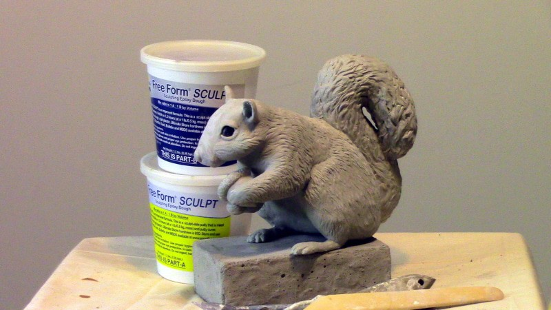 Waterproof Squirrel Sculpture Made with Free Form Sculpt