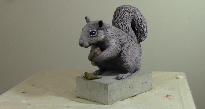 waterproof outdoor squirrel sculpture made with epoxy clay