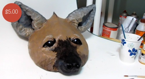 3-D pattern for a hyena mask.