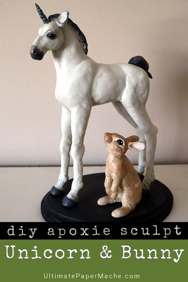 Apoxie sculpt unicorn and bunny patterns